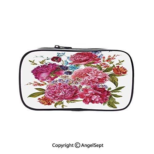 - Cute Pencil Case - High Capacity,Gentle Summer Flora Hyacinths BlackBerry and Peonies Victorian Vegetation Decorative Multicolor 5.1inches,Multifunction Cosmetic Makeup Bag,Perfect Holder for Pencils