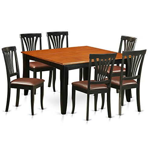 East West Furniture PFAV7-BCH-LC 7 Piece Dining Table and 6 Solid Wood Chairs Set