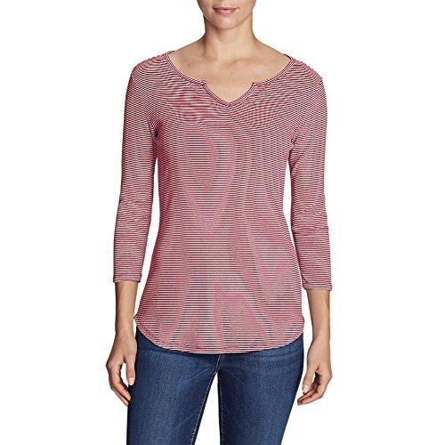 Eddie Bauer Women's Favorite Notched Neck 3/4-Sleeve Top - Stripe, Garnet Regula