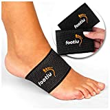 FOOTIU by AZMED - Compression Copper Arch Support Brace - 2 Plantar Fasciitis Sleeves for Pain Relief, Heel Spurs and Flat Feet with Gel Cushions Bonus (1)