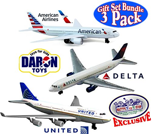 "Daron American Airlines, Delta & United Airlines B747 Die-cast Planes ""Matty's Toy Stop"" Exclusive Gift Set Bundle - 3 Pack"