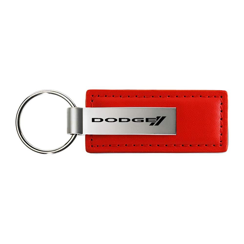 Dodge New Logo Red Leather Car Key Chain Au-Tomotive Gold INC