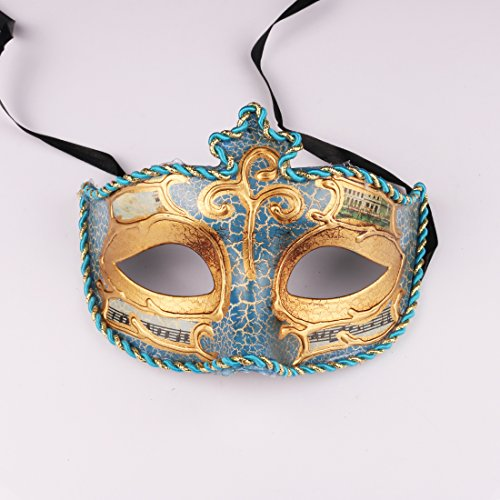 Mardi Gras Ladies Venetian Colombina Venice Scene Mask Masked Ball Masquerade Fancy Dress (Blue) (The Mask Best Scenes)