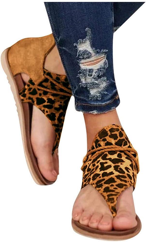 Quealent Sandals for Women Wide Width,2020 Comfy Womens Wedge Platform Sandals Flats Ankle Strap Studded Summer Beach Sandals