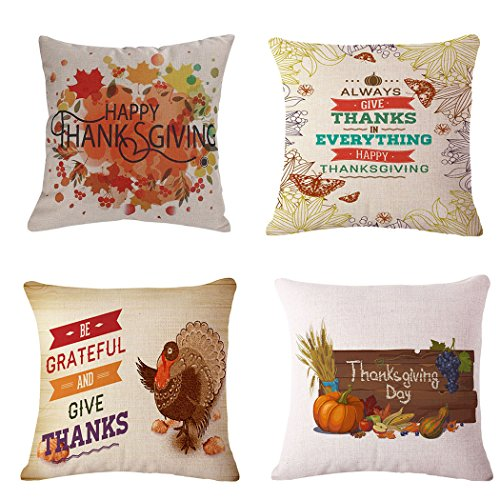 LEIOH Happy Thanksgiving Pillow Covers 18 x 18 Inch Cotton Linen Home Thanksgiving Decorations Sofa Throw Pillow Case Cushion Covers Set of 4