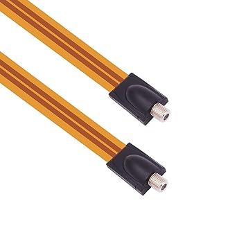Fancasee (Ultrafino) Cable coaxial Plano Hembra a Hembra Tipo F ...