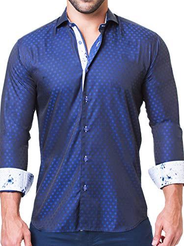 Maceoo Mens Designer Dress Shirt - Stylish & Trendy - Einstein Addition Navy - Tailored Fit (Cotton Shirt Italian Dress Collar)