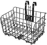 POWSTRO K Folding Bike Basket Metal Anti-Rust Easy Installation Bicycle Basket Front Handlebar Hanging Basket