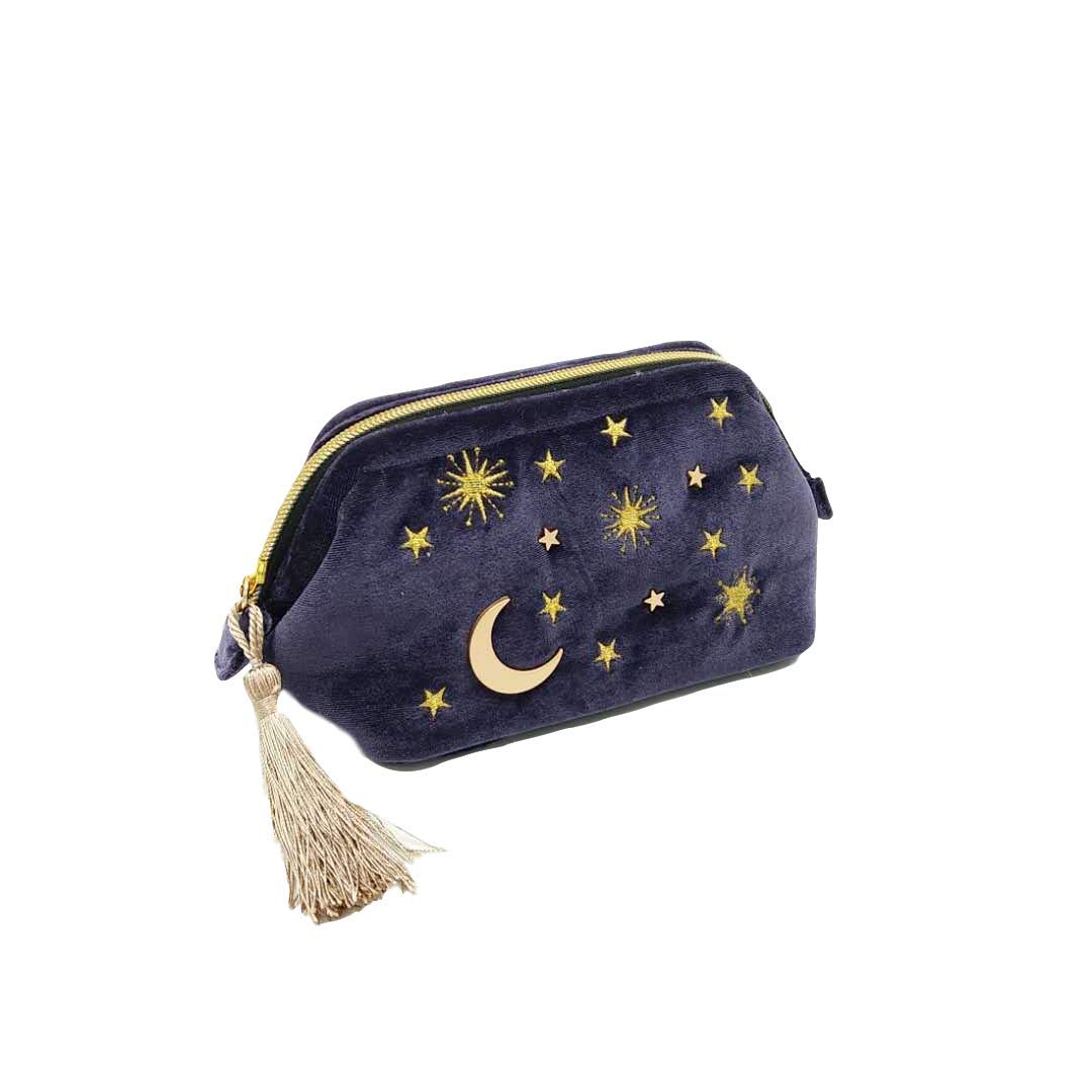 Handy cosmetic makeup bag,Navy Velvet Embroidered Applique Moon Stars Sun Cosmetic Bag,Starry Makeup Pouch with Tassels & Pearl Zipper,Beautician Storage Bag Clutch Handbags,Toiletry Wash Bag
