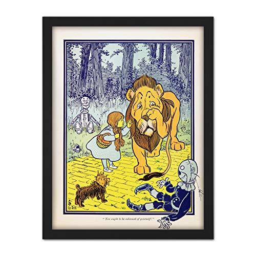 (Denslow Dorothy Cowardly Lion Wizard OZ Illustration Artwork Framed Wall Art Print 18X24 Inch)