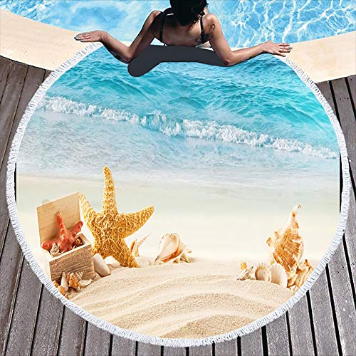 Boyouth Round Beach Towel,Shells and Starfish on The Beach Pattern Printing Beach Mat with Tassels Ultra Soft Super Water Absorbent Multi-Purpose Towel,59 inch-Diameter