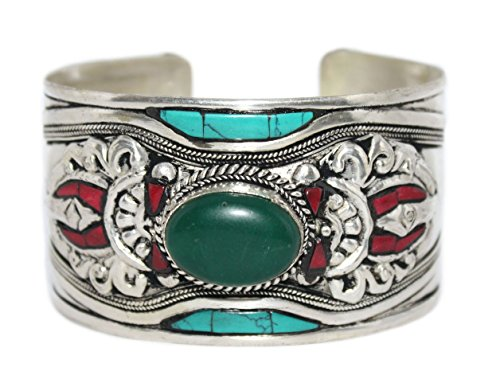 Turquoise Bracelet Jade Bracelet Tibetan Bracelet, Silver Bracelet, Cuff Bracelet BB418