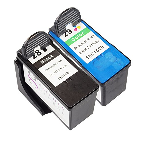 Sophia Global Remanufactured Ink Cartridge Replacement for Lexmark 28 and Lexmark 29 (1 Black, 1 Color)