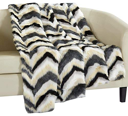 Chevron Collection - Chic Home Orna Throw Blanket New Faux Fur Collection Cozy Super Soft Ultra Plush Micromink Backing Decorative Striped Chevron Design50