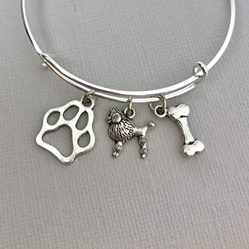 Poodle Jewelry for Women, Dog Mom gifts Bracelet paw print bone