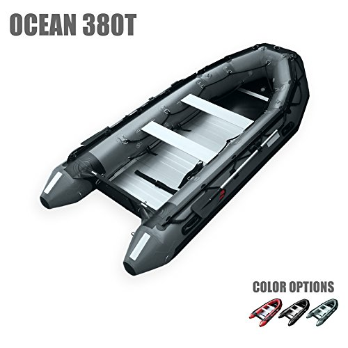 SEAMAX Ocean380T 12.5 Feet Commercial Grade Inflatable Boat, 5 Pontoon Chambers, Aluminum Floor, V Bottom, Max Support 25HP Motor, Coast Guard Standard Reflective Tapes, Multi-Purpose (Dark Grey)