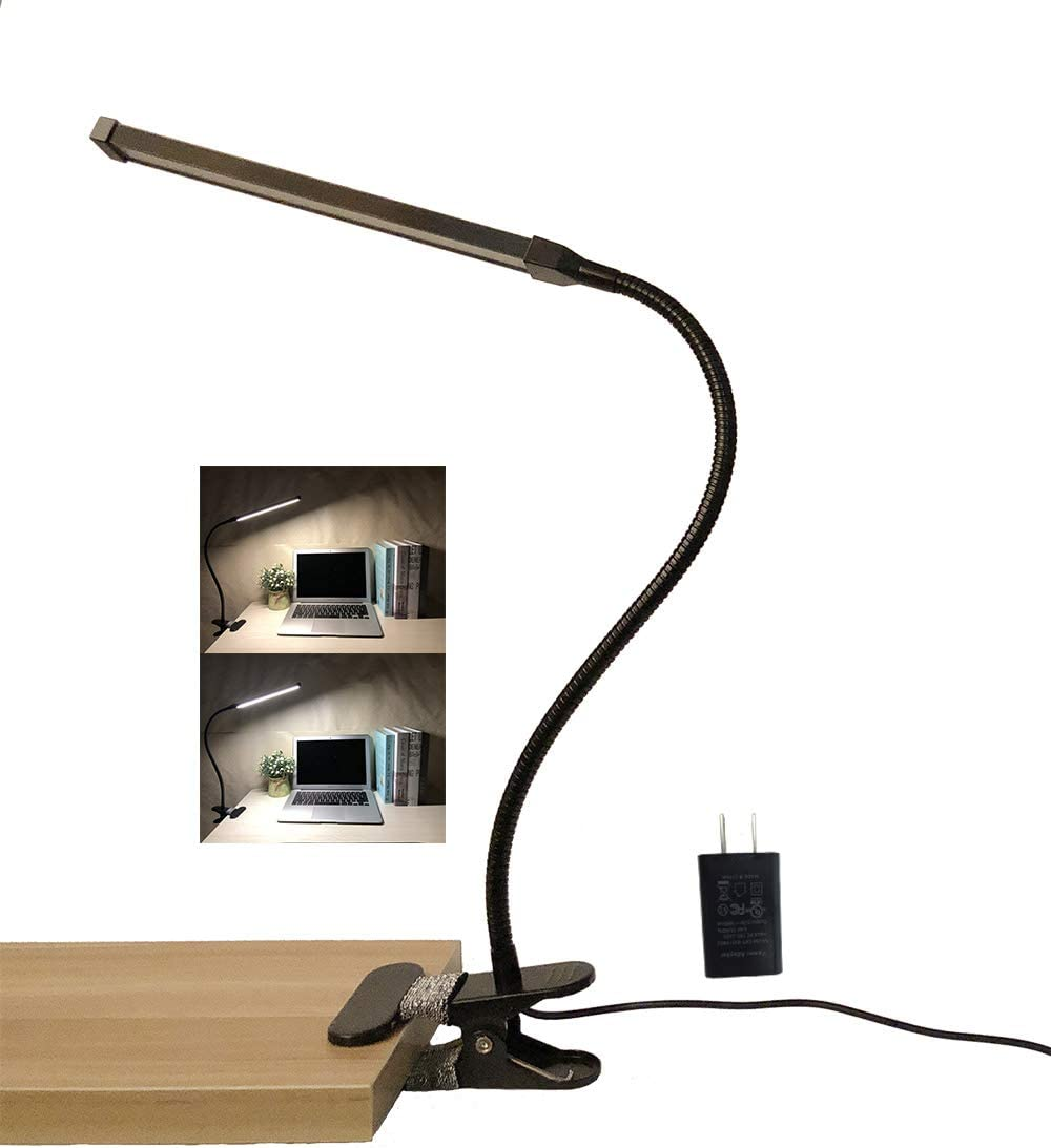 AFORTLO Clamp Lamp Light,Study Lamp with Flexible Gooseneck,6W 2 Color Temperature Dimmable,2-Level Brightness Dimmer,Led Lamp Clamp Clip on Light for Monitor,Bed,Office with UL Adapter Metal