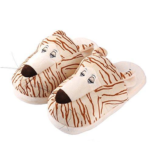 Aerusi Enfant Animal En Peluche Pantoufle Mignonne Amusant Confortable Slip-on Doux Chaud Famille Maison Intérieur Chambre Pantoufles Lion