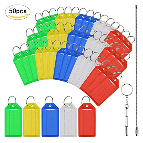Key Tags,MEZOOM 50 Pcs Assorted Colours Key Ring Tags Holder Key Fobs ID Luggage Labels With Stainless Steel Rope and Metal Key Tool Bag Key Tag