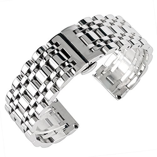 20mm 22mm 24mm Solid Stainless Steel Watch Band Silver 316L Push Button Hidden Bracelet Watch Strap for Mens Womens ()