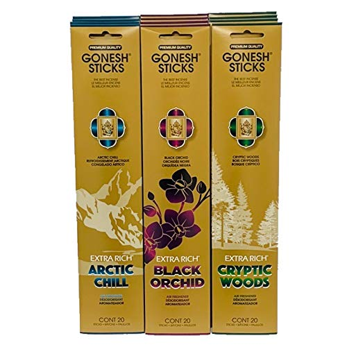 Gonesh Adventure Series (Arctic Chill, Black Orchid, Cryptic Woods Total - Series Incense