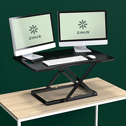 Zinus Smart Adjust Standing Desk/Adjustable Height Desktop Workstation/36in  X 24in/Black