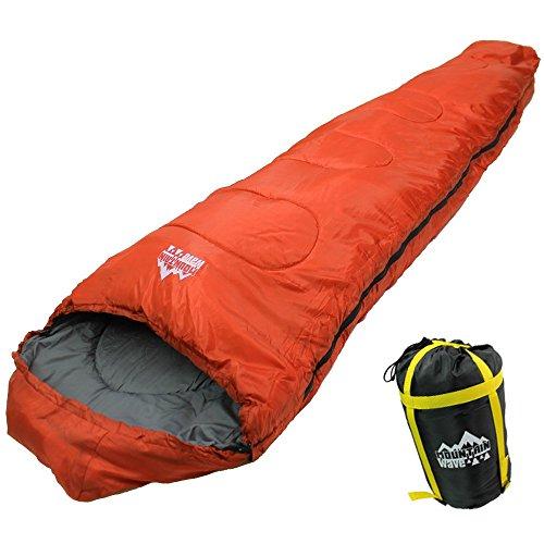 寝袋シュラフ-15℃マミー型登山アウトドア車中泊防災用災害MOUNTAINWAVEオリジナル(オレンジ)