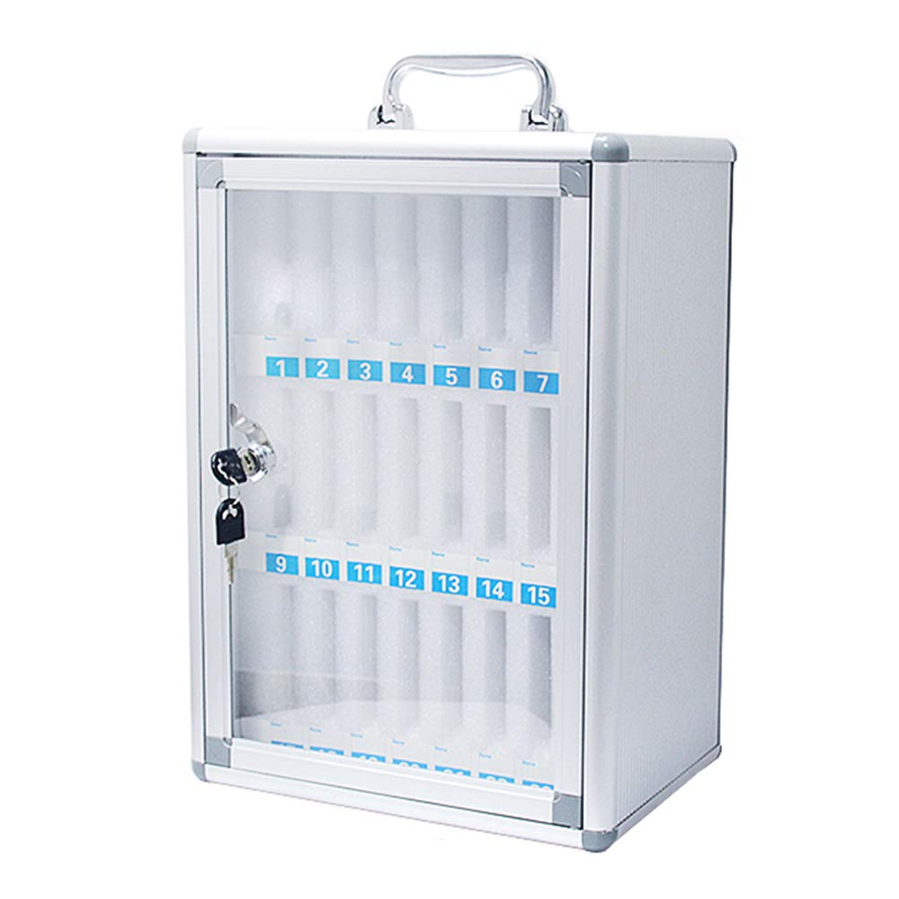 Ozzptuu 24 Slots Aluminum Alloy Pocket Chart Storage Cabinet for Cell Phones,Wall-Mounted with a Locked,Can be Carried by Hand