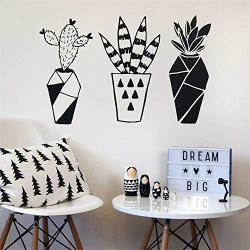 Uyeai Quotes Vinyl Wall Art Decals Saying Words Removable Lettering Sticker Geometric Cactus Potted Plants for Nursery Kids Room Boys Girls Room