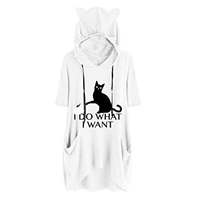 7c1fc8a59 Mysky Women's Summer Popular Cute Cat Print Short Sleeve Ear Hooded Jacket  Plus Size Long Pullover Top Blouse T-Shirt Large White: Amazon.in: Clothing  & ...