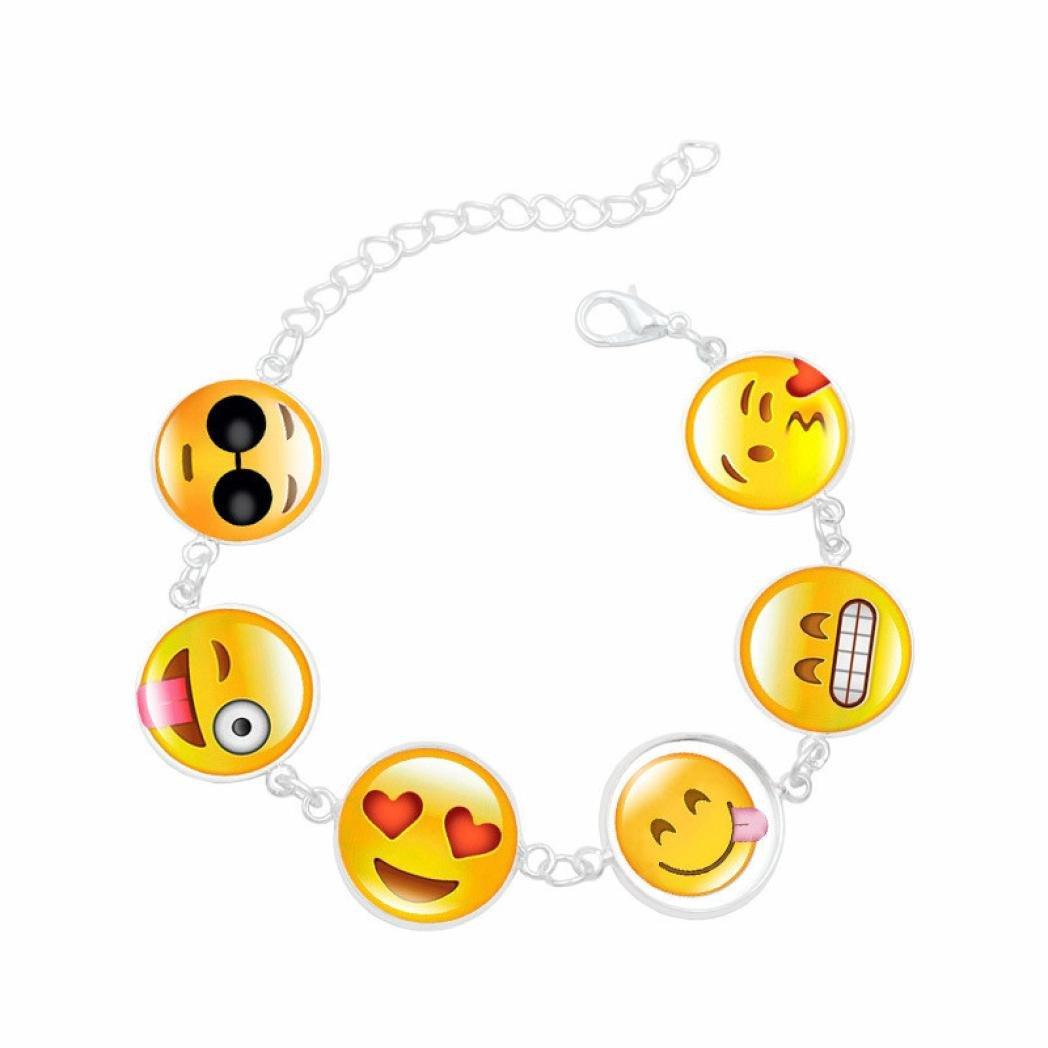 BCDshop Fun Expression Charm Bracelet Cute Funny Jewelry Adjustable Wristband Bracelets Xmas Gift (C, NA)
