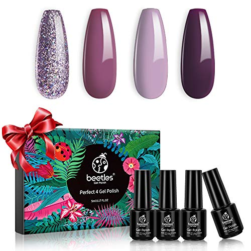 Beetles 4 Colors Purple Glitter Gel Nail Polish Set - Lilac Mauve Gel Polish Kit Purple Nail Polish Soak Off LED Lamp Gel Nail Kit Vanish Manicure DIY Home Holiday Set