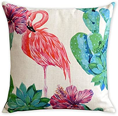 Plantas tropicales y flamencos lino y algod¨®n funda de almohada American Art coj¨ªn decorativo fundas de almohada de decoraci¨®n para el hogar sof¨¢ ...