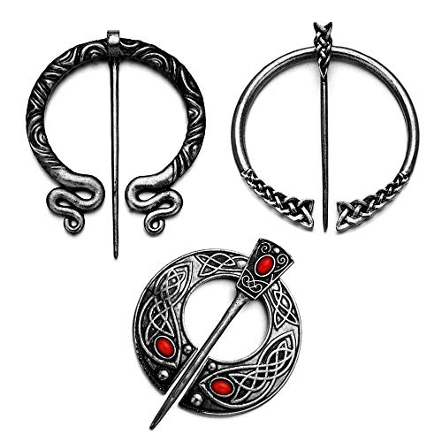 fzbali 3 Pack Vintage Viking Brooches Pins Medieval Cloak Shawl Pin Clasp for Women Celtic Jewelry Costume Accessory Silver