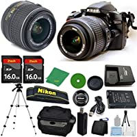 Nikon D3200 Digital SLR - International Version (No Warranty), 18-55mm f/3.5-5.6 DX VR, 2pcs 16GB ZeeTech Memory, Camera Case