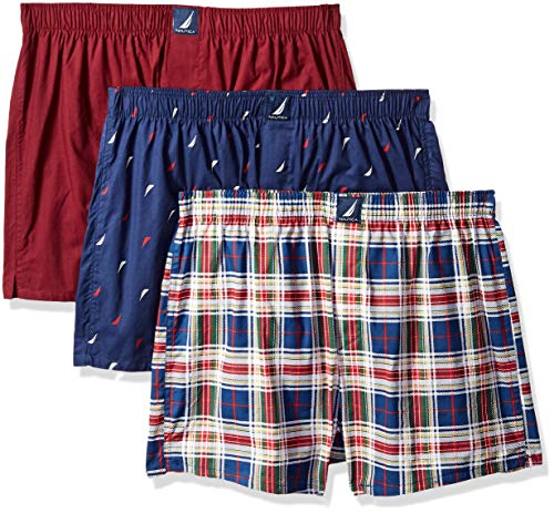 Nautica Men's Classic Cotton Woven Boxer, Tawny Port/Navy Sails Plaid-68027, S (Boxer Mens Plaid Classic)