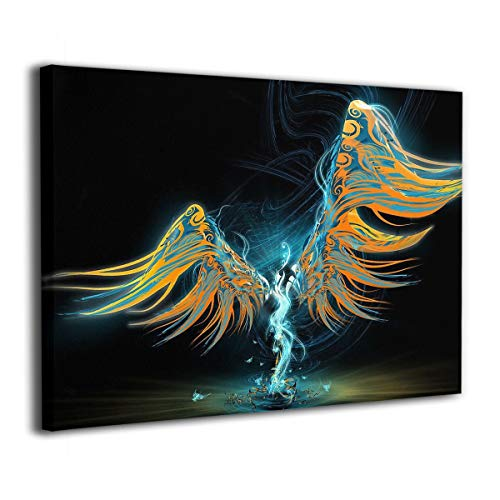 Henry Huxley Wall Art Painting Picture for Living Room Couch Home Bedroom Decoration Wings Winged Modern Framed Artwork 16x20in