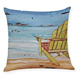 Leewos Home Decor Pillowcase, Cushion Cover Summer Beach Throw Pillowcase Linen Blend Pillow Covers For Sofa Bed Chair Couch 45 X 45 CM (M)