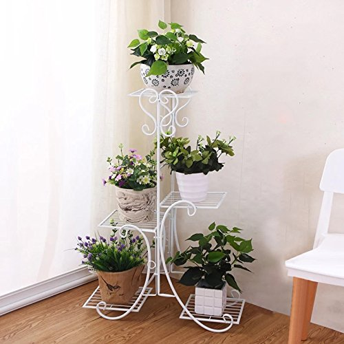 Solofish 5 Tier Metal Plant Stand Decorative Planter Holder Flower Pots Stander White (Metal Planter Stand)