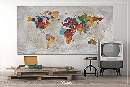 sur toile rustique carte du monde Antiquit/és 19x39 50cmx100cm Wanderlust de voyage Love-964 carte tr/ès grande carte du monde Color/é Moyen Push Pin Travel Map Push Pin carte du monde