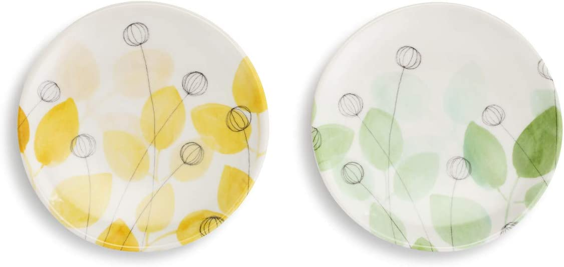 Summer Floral Yellow and Green 5 x 5 Melamine Wine Appetizer Plates Set of 2