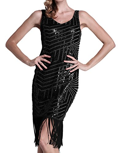 PrettyGuide Women Backless Sequin Geometry Tassel Hem Midi Flapper Cocktail Dress Black S (Twenties Dress)