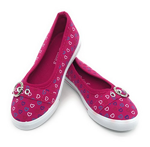 (EASY21 Baby Toddler Kids Girls Canvas Casual Sneaker Shoes,Fuchsia Heart09,Size 10)