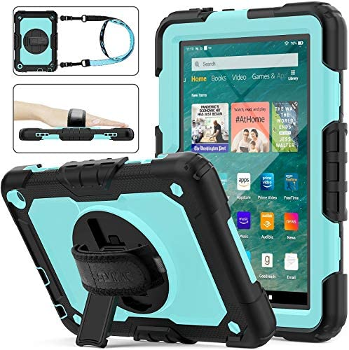 SEYMAC inventory Case for Fire HD 8/8Plus Case (tenth Generation 2020 ), [Full-Body] Shock-Proof Case with 360 Rotating Stand &Strap [Screen Protector] for Amazon Fire HD 8/8 Plus tenth Gen (SkyBlue+Black)