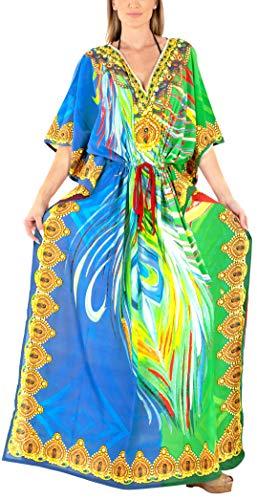 - HAPPY BAY Women's Long Caftan Relax Casual Dress OSFM 14-22W [L- 3X] Green_X833