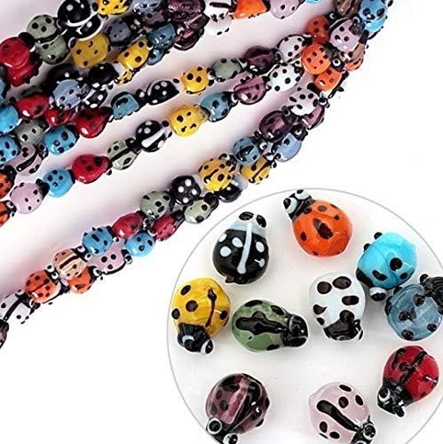 Calvas Approx 40pcs/lot Mixed Colours Lampwork Glass Ladybug Beads DIY Jewelry Beads for Handcraft 7x9mm CN-BBC001