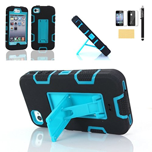 GoodPro 3IN1 Hybrid Armor Bumper Case with Screen Protector, Stylus and Cleaning Cloth for Apple iPhone 4/4S - Black/Blue