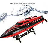 Funmily RC Electric Racing Boat 24KM H High Speed waterproof for pools and Lakes and Outdoor Adventure (Red Black)