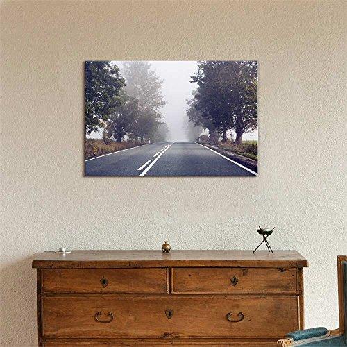 Beautiful Scenery Landscape Empty Road on a Foggy Morning Wall Decor