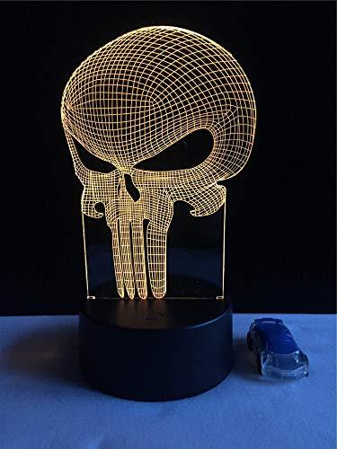 JIAHUADE 3D Led USB Light Halloween Punisher Mood Colorful Fear Theme Haunted House Decoration Night Light Stage Lighting ()